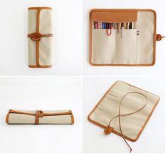 Indigo The Basic handmade canvas roll pencil case pen pouch