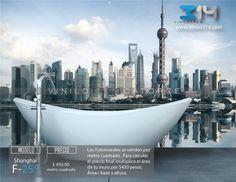 Fotomurales ciudad skyline Shanghai  (Tapiz) (mural) (fotomural) Decoración de muros y superficies lisas. Vinilo 314 Guadalajara Mexico. www.vinilo314.com