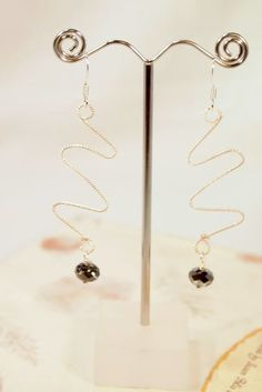 Silver Wire and Swarovski Crystal Beads Dangling by CKDesignsUS, $15.00