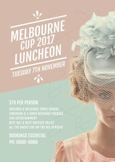 Melbourne Cup Luncheon Poster Template - The biggest range of customisable Melbourne Cup posters and flyers that take the hassle out of organising your promotions. Choose a template and drag, drop and be done! Graphic Design Tools, Graphic Design Templates, Graphic Design Posters, Tool Design, Tadanori Yokoo, Spring Racing, Melbourne Cup, Cup Design, Elegant Woman