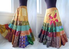 Sun Red Daisy - Long Patchwork skirt, Hippie Boho Gypsy Skirt, applique, Over… Boho Gypsy, Hippie Boho, Bohemian Mode, Bohemian Style, Boho Chic, Hippie Style, Gypsy Style, My Style, Diy Clothing