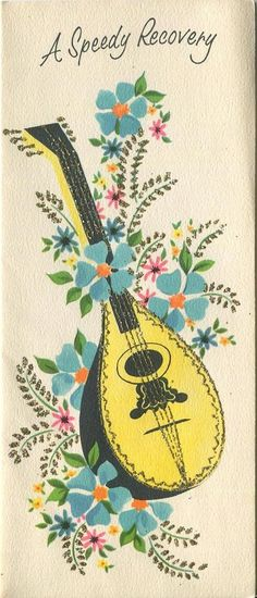 VINTAGE YELLOW BLACK MUSICAL LUTE BLUE GARDEN FLOWERS FLAX GREETING CARD PRINT in Collectibles, Paper, Other Paper Collectibles | eBay