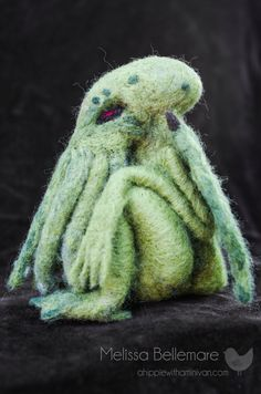 Needle Felted Cthulhu OOAK by ahippiewithaminivan on Etsy, $295.00