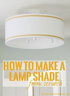 Any size you want!  How to construct a lamp shade with lamp shade rings, plastic, and fabric.  | Bean In Love blog