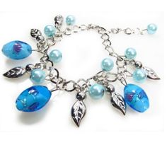 Blue Glass Bead Link Chain Fashion Charm Bracelet Adjusts to Fit Any Wrist in Gift Box *** To view further for this item, visit the image link. Note: It's an affiliate link to Amazon.