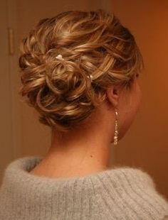 Prom hair updo.. just a little higher up with a few curls left to hang