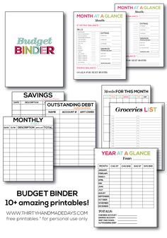 Thirty Handmade Days has 10+ FREE budget Planner pages for you! This great set includes:  	Budget Binder 	Weekly Ledger 	Monthly Ledge 	Savings Informa