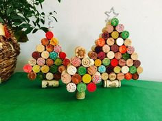 Wine Cork Christmas Tree, Set of 3 Christmas Tree decorations, Cork Christmas Tree Decoration, Wine Lover Holiday Decor, Wine Cork Tree Recycled Christmas Tree, Cork Christmas Trees, Christmas Party Decorations, Christmas Crafts, Christmas Ornaments, Holiday Decor, Wine Cork Wreath, Wine Cork Crafts, Cork Tree