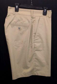 adidas Golf Shorts 3W4 Climalite 34 Flat Front Dark Khaki Beige #Adidas