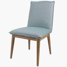 Lara Birch Wood Fabric Chair NWO Legs, Blue Hayseed - Harrington Galleries