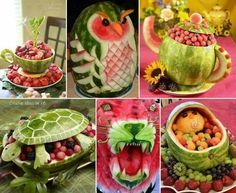 Watermelon as table decor (pictures only, no instructions)