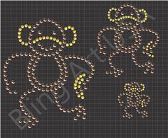 Monkey Rhinestone Download Files Pattern Animals Bling SVG PLT EPS PDF Bananas Swinging Zoo Stone Easy Sticky Flock