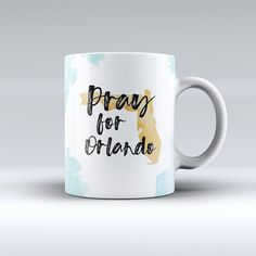 Pray for Orlando v1 Ink Fuzed Ceramic Coffee Mug or Tea Cup ($14) ❤ liked on Polyvore featuring home, kitchen & dining, drinkware, drink & barware, home & living, mugs, silver, ceramic mugs, tea coffee cups and handmade ceramic mugs
