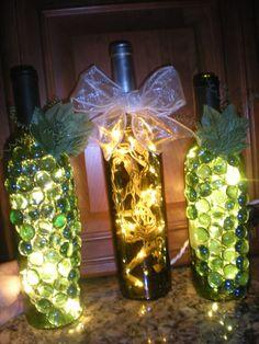 Wine Bottle Lights Close Up