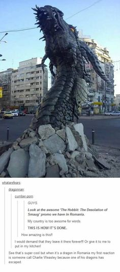 Smaug sculpture, the dragon in The Hobbit film. Imagine walking along the streets of Bucharest, Romania, and then you see this dragon head poking through the concrete! Dragon Medieval, Hobbit Dragon, Smaug Dragon, Illusion Kunst, Breathing Fire, O Hobbit, Cool Dragons, Desolation Of Smaug, Wow Art