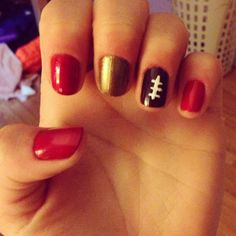 49ers football nails...for the girly Niners fans ;)