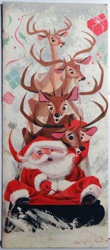 vintage christmas card, santa claus, reindeer, gifts, retro xmas