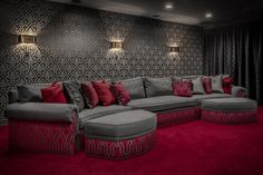 Home theaters carpet Old Hollywood Home Theater - A plush sectional with matching ottomans makes for a cozy spot to sit back relax and watch movies in this luxe home theater. Home Theater Lighting, Theater Room Decor, Home Theater Furniture, Home Theater Decor, At Home Movie Theater, Home Theater Rooms, Home Theater Design, Home Decor, Cinema Room