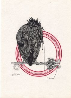 By cipananatalia:CROW RED RING black and red ink... | gdfalksen.com