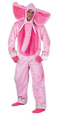 Funny Fashion Funny Adult Mens Womens Pink Elephant Halloween Costume L