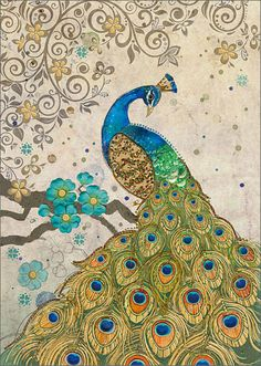 BugArt Paper & Foil~Peacock Collage. PAPER & FOIL Designed by Jane Crowther.