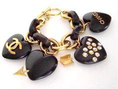 Chanel Wood Heart Charm Bracelet 1990's