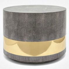 Glam and texture are the hallmarks of the brass and gray, Maxine Coffee Table from Made Goods. Covered with luxurious faux shagreen and shiny brass, this chic, round furniture is the ideal choice for the living room in your home. Accent Furniture, Table Furniture, Luxury Furniture, Coffee Table Grey, Round Coffee Table, Nyc Coffee Shop, Cool Mirrors, Cocktail Tables, Home Accessories