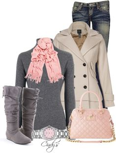 "Beautiful, elegant instant outfit. Perfect for the cold weather and using the pale pink with the gray makes this complete set that ""little bit different"" to the grays, browns, blacks and aubergine. Love this!"