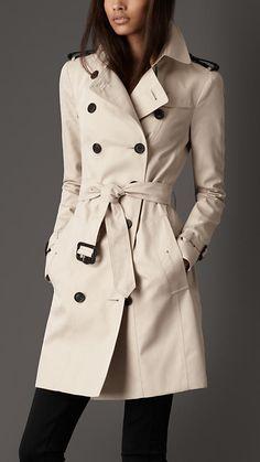 Burberry Long Cotton Gabardine Leather Epaulette Trench Coat