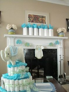 Blue and grey elephant baby shower decorations gift bags, grey elephant baby shower, green baby, eleph babi, elephant baby shower ideas, baby shower decorations, baby shower elephant ideas, babi shower, baby showers