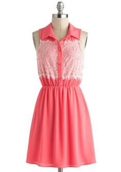 Raspberry pink button up dress with a lacey upper piece
