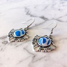 Blue White earrings Antique Silver drop handmade earrings Gift for her Valentine Memories Vivid Sister boho by VividSister on Etsy https://www.etsy.com/au/listing/527407036/blue-white-earrings-antique-silver-drop