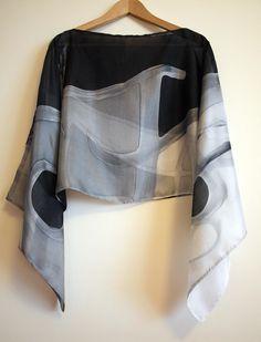 Silk blouse hand painted-Silk scarf. Wedding silk top. Silk handpainted. Ooak silk blouse. Silk blouse black-white-grey 55x18in (138x43 cm) de gilbea en Etsy