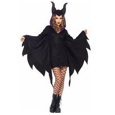 Get casually hott this Halloween with our Cozy Villain Sexy Costume. The black zipper front fleece dress features bat wing sleeves and a horn hood. Plus Size Disney Costumes, Disney Villain Costumes, Maleficent Costume, Adult Costumes, Maleficent Halloween, Halloween Vampire, Movie Costumes, Costume Halloween, Halloween Party