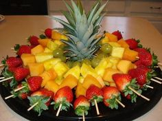Luau fruit trays ideas: fruit skewers for a party cut top off of pineapple to, diy party luau party fruit tray display pineapple tree, hawaiian luau party watermelon whale, carved watermelon Baby shower food display= Fruit skewers for a party Cut top off Fruit Recipes, Appetizer Recipes, Cooking Recipes, Picnic Recipes, Guava Recipes, Tostada Recipes, Cooking Tips, Healthy Snacks, Healthy Eating