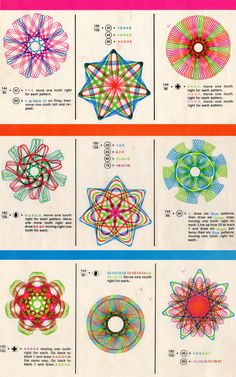 Use Spirograph to make seven- folds designs, developed by British engineer Denys Fisher and first sold in Spirograph Art, Arte Linear, Retro, My Childhood Memories, Childhood Toys, My Memory, Old Toys, The Good Old Days, String Art