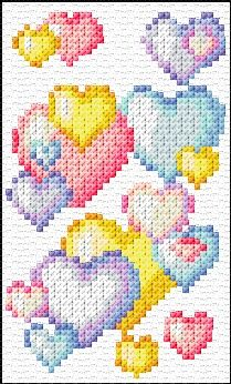 Heart Bubbles Free Cross Stitch Chart Needlepoint Pattern