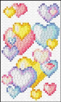Heart Bubbles Free Cross Stitch Chart Needlepoint Pattern
