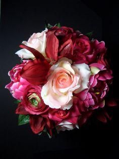 wedding bouquets of roses, peonies, reubrum lillies