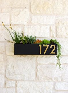 Clarkesville Planter w/ Brass Address Numbers, House Numbers, Address Sign, Address Plaque (Free Sh Door Numbers, House Numbers, House Address Numbers, Decoration Entree, Colorful Succulents, Address Plaque, Plantation, House Front, Porch Decorating