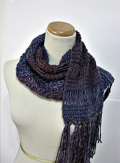 Purple and Burgundy Hand Knit Scarf by ArlenesBoutique on Etsy, $50.00