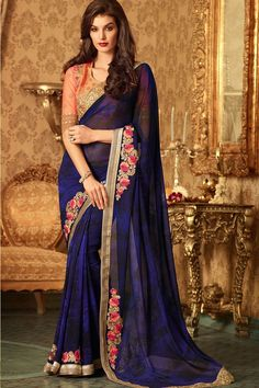 Black-Navy Blue Georgette Bride-Mate Saree with Heavy Designer Blouse