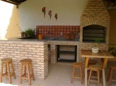 Churrasqueira com forno, atraente e funcional Barbecue Area, Bbq Grill, Parrilla Exterior, Outdoor Kitchen Design, House Plans, Sweet Home, New Homes, Backyard, House Design