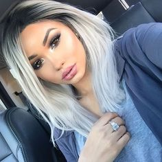 Silver White Ombre Hair Colors Lace Front Wigs For Black Teens