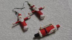 Wooden Santa Claus Dangle Pierced Earrings and Brooch #DropDangle