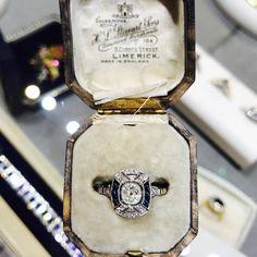 SOLD – Art Deco Style Sapphire and Diamond Ring in Platinum Gemstone Colors, Gemstone Rings, Galway Ireland, Platinum Jewelry, Selling Art, Vintage Diamond, Art Deco Fashion, Girls Best Friend, Unique Vintage