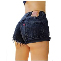 Levis High Waisted Denim Shorts Cuffed Rolled Black Denim Shorts Plain... ($19) ❤ liked on Polyvore featuring shorts, grey, women's clothing, distressed denim shorts, ripped denim shorts, cotton shorts, high-waisted shorts and denim shorts