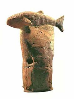 A fish.   The Kofun period art, Haniwa terracotta clay figure.   The 500s. Chiba Japan.