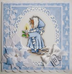 Lili of the Valley - Frosty Christmas card - love the white and blue color combo and the white/blue poinsettia - layout - bjl Stamped Christmas Cards, Christmas Card Crafts, Homemade Christmas Cards, Christmas Cards To Make, Noel Christmas, Xmas Cards, Christmas Themes, Handmade Christmas, Christmas Candle