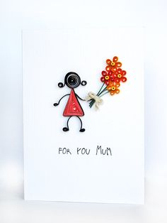 Quilled Mothers Day card handmade greeting card by szalonaisa, $8.50